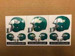 3 Philadelphia Eagles Metallic Helmet Decal Sheets