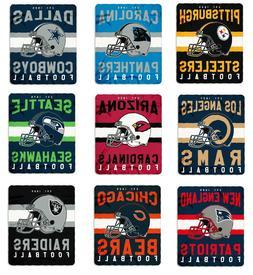 NFL Teams Singular Design Large Soft Fleece Throw Blanket 50