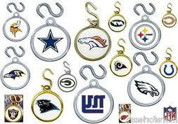 CHOOSE TEAM NFL Instant ID TAG Charm S-hook NEW Pet Dog Lugg