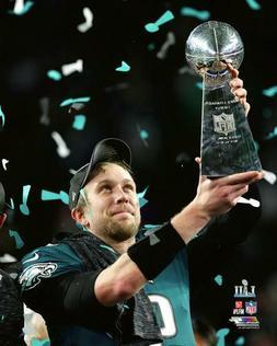 Eagles Super Bowl LII Nick Foles Lombardi Trophy 8x10 Photof