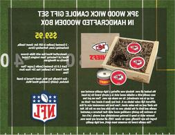 NFL Football 3pk WoodWickSoyWaxHandPouredTinWoodBoxed CANDLE