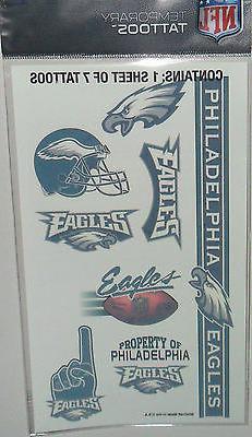 NFL PHILADELPHIA EAGLES TEMPORARY TATTOOS 1 SHEET 7 TATTOOS