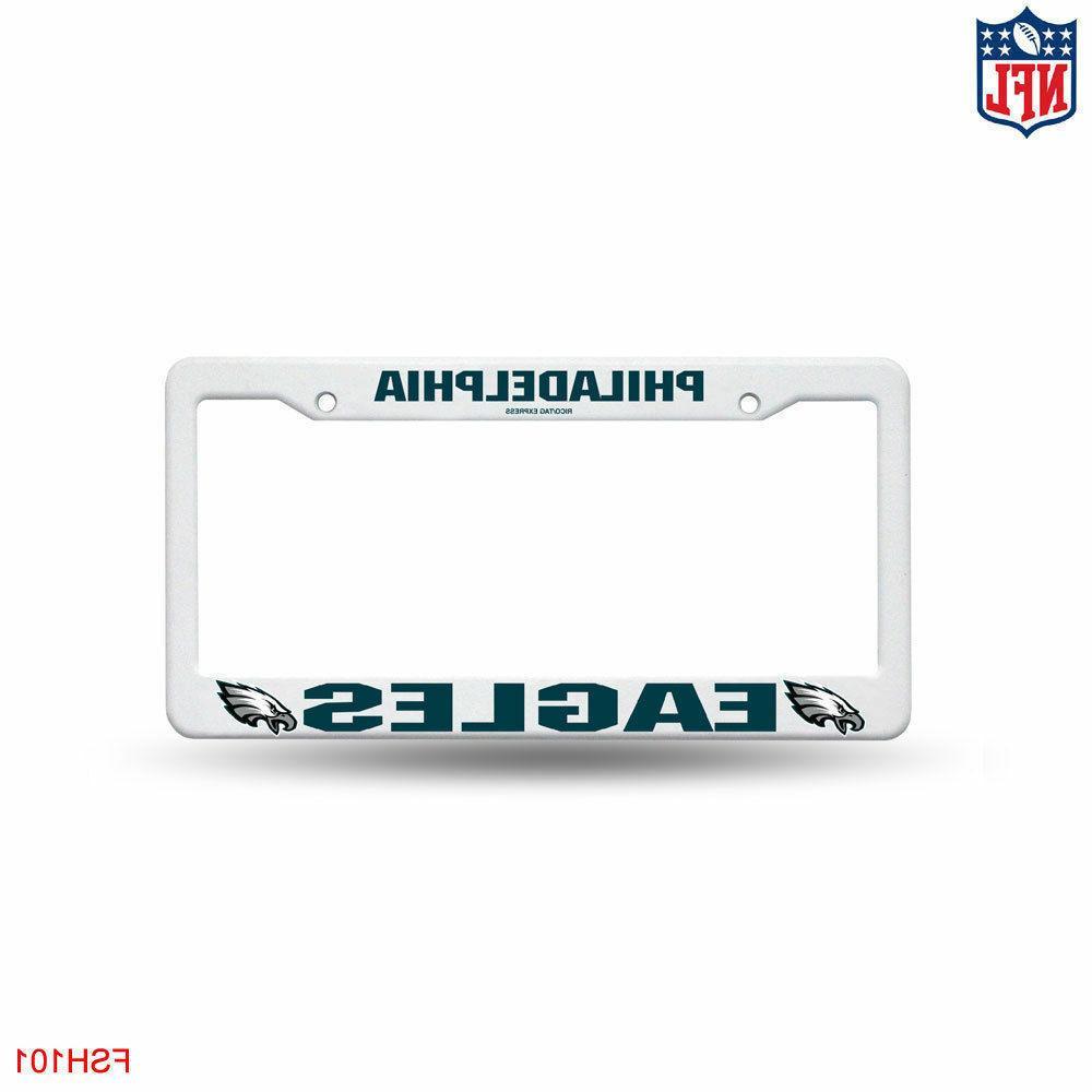 nfl white plastic license plate frame philadelphia