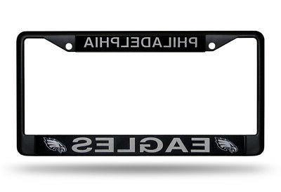 philadelphia eagles authentic metal black license plate