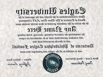 philadelphia eagles nfl fan certificate diploma man