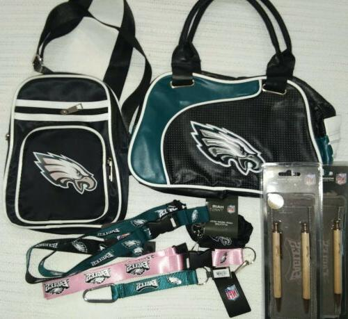 PHILADELPHIA EAGLES NFL SLING BACKS AND PURSE WITH EXTRAS CL