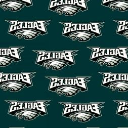 "NFL PHILADELPHIA EAGLES 100% Cotton Fabric licensed 60"" wide"