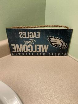 """NFL PHILADELPHIA EAGLES """"FANS WELCOME"""" WOOD SIGN 6""""X12"""" WALL"""