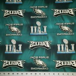 NFL Philadelphia Eagles Superbowl Cotton Fabric BY THE YARD,