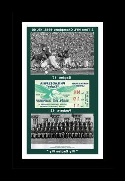 PHILADELPHIA EAGLES 1960 NFL CHAMPS MATTED COLLAGE PIC OF TE