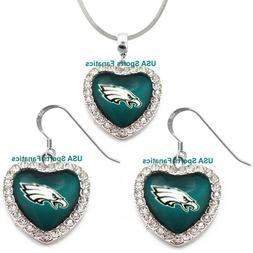 Philadelphia Eagles 925 Necklace / Earrings or Set Team Hear