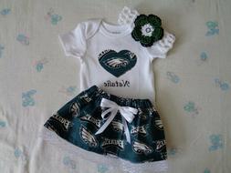 Philadelphia Eagles  Baby Girl Skirt, Personalized Bodysuit