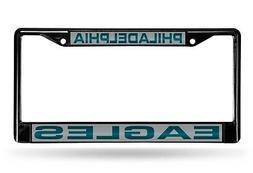 Philadelphia Eagles BLACK LASER FRAME Chrome Metal License P