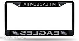 Philadelphia Eagles BLACK Metal Chrome License Plate Tag Fra