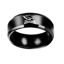 Philadelphia Eagles Black Stainless Steel  Ring Size 7-13 FR