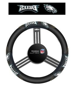 Philadelphia Eagles Black Vinyl Massage Grip Steering Wheel