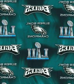 "Philadelphia Eagles Champions NFL Cotton Fabric 18"" x 44"" 1/"