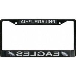 Philadelphia Eagles Chrome Auto Licensed Plate Frame Black