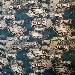 PHILADELPHIA EAGLES Football Cotton Fabric Distressed Print