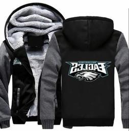 New Philadelphia Eagles Hoodie Zip up Jacket Coat Winter War