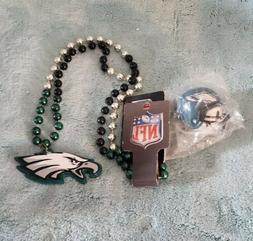 Philadelphia Eagles Mardi Gras beads with Team medallion, An