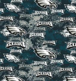 Philadelphia Eagles NFL Green Distressed Cotton Fabric 70108