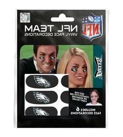Philadelphia Eagles NFL Vinyl Face Decorations 6 Pack Eye Bl