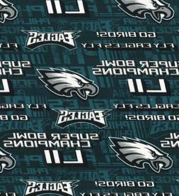 "Philadelphia Eagles Super Bowl NFL Cotton Fabric 9""x44"""