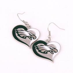 Philadelphia Eagles Swirl Heart Shape French Hook Charm Dang