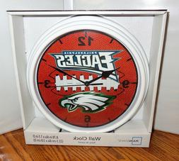 "PHILADELPHIA EAGLES WALL CLOCK. 9"" DIA. NFL FOOTBALL.....FRE"