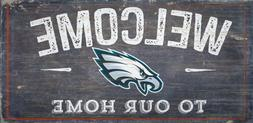 """Philadelphia Eagles Welcome to our Home Wood Sign  NEW 12"""" x"""