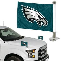 """TWO   PHILADELPHIA EAGLES  4"""" x 6""""  CAR OR TRUNK FLAGS FROM"""